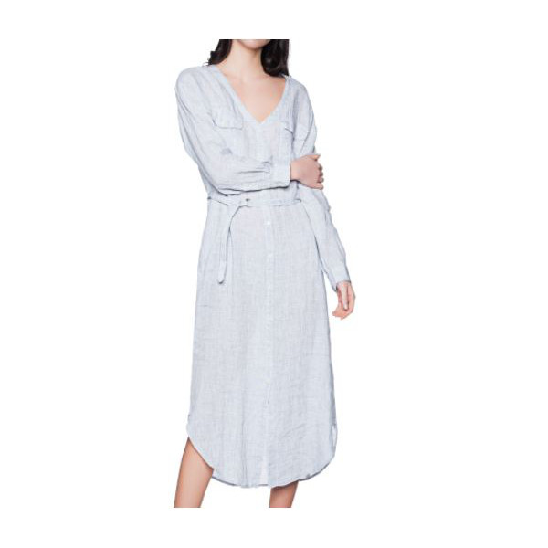 WOOLRICH VESTITO IN LINO LONG DRESS DONNA AZZURRO