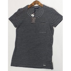 Woolrich Tshirt Striped Pocket Donna Rigato